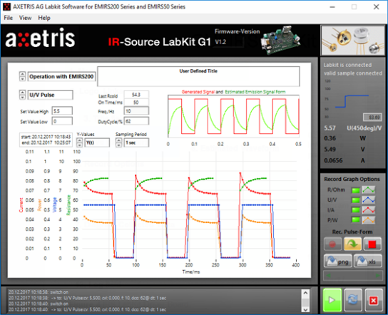 Image showing the Axetris GUI for Infrared Sources