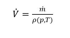 Axetris works with the formula of the conservation of mass law that states, that the mass flow into a system always has to be conserved