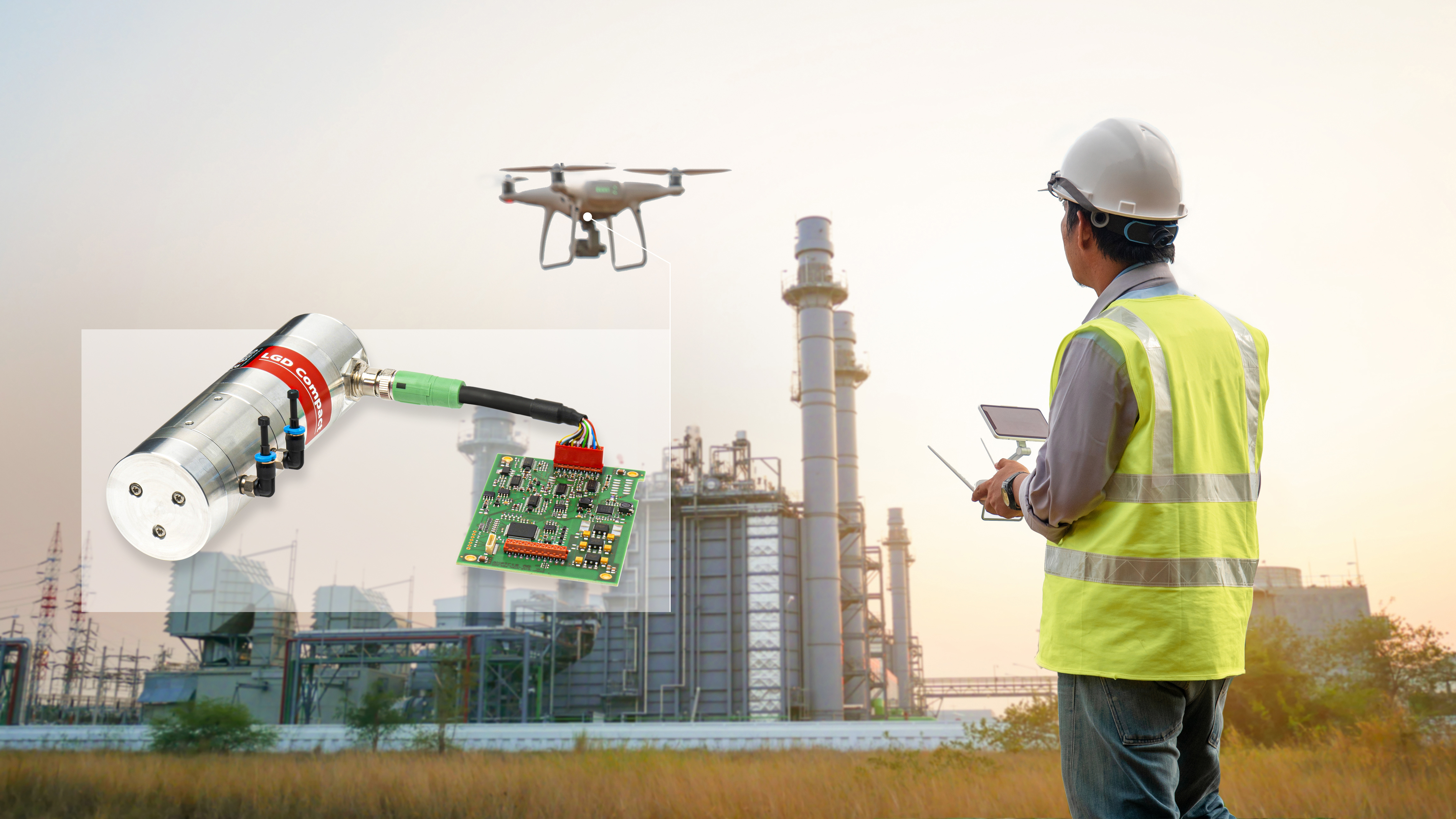 Drone with LGD Compact searching for gas leaks