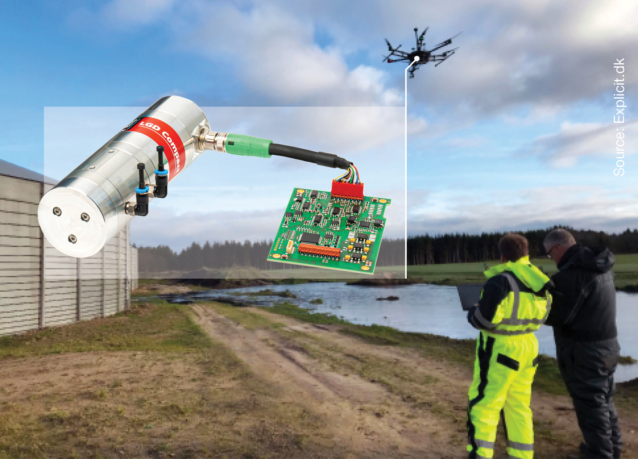Company explicit testing leak detection with Axteris LGD Compact by drone