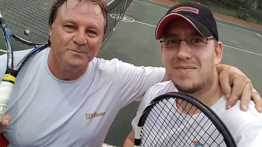 Leister Rachid Benlakhouy and Hamish Hamilton at tennis