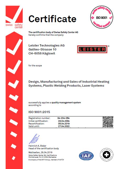 ISO Certificate 2019 LEISTER